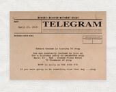 telegram printable birthday invitation digital file vintage rustic old fashioned party invite - milestone birthday 90th 80th 70th 60th 50th