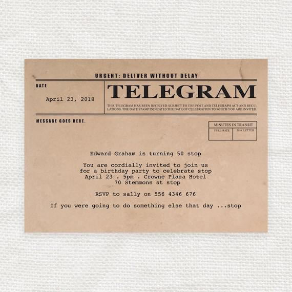 Old Fashioned Wedding Songs: Telegram Printable Birthday Invitation Digital File Vintage