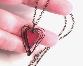 """Rich Red Heart Necklace in stained glass and metal wire, with 24"""" black metal chain"""