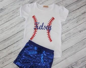 Personalize Baseball Shirt- Baseball Outfit- Girls Baseball- Baseball- Girls Softball tshirt-1st Birthday Outfit-Baseball Bodysuit- Size 0-7