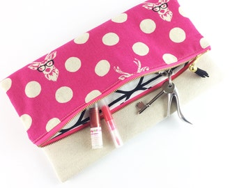 Pink stags in glasses polka dot fold over clutch bag | Purse | Handbag | Gift for her | BFF |Statement Bag