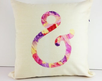 Cream and pink modern ampersand cushion cover | Home Decor | Applique Cushion | Throw Pillow