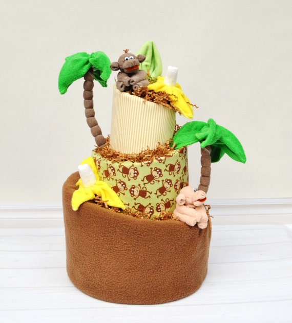 Jungle Baby Shower, Monkey Baby Shower, Monkey Diaper Cake, Baby Shower Decor, Baby Boy Gifts, Diaper Cake Decoration, Monkey Centerpiece