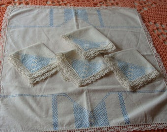 Vintage Lace Edge Breakfast Tablecloth and Napkins Set
