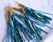 Vintage Christmas Ornaments - Shiny Brite Tinsel Tassels in Turquoise - 7