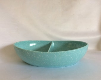 Retro Robins Egg Blue Speckled Melmac Divided Bowl