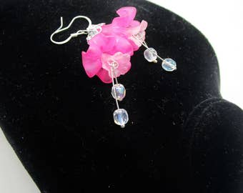Vintage Pink Fuchsia Lucite Flared Flower AB Cut Crystal Dangle Earrings Victorian Style Czech Art Nouveau Easter Spring Floral