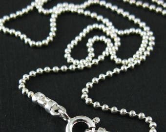"Vintage Sterling Silver 925 Tiny Bead Ball 32"" Long Flapper Necklace 10 Grams 1.2 MM Minimalist  Art Deco Mothers Day Fine Jewelry Stamped"