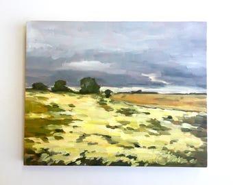"""Mustard Hillside • original oil painting 8x10"""""""