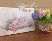 Custom Order SUZANNE - An armful of Rose & peonies- Canvas print based on Original Painting by  Helen Flont