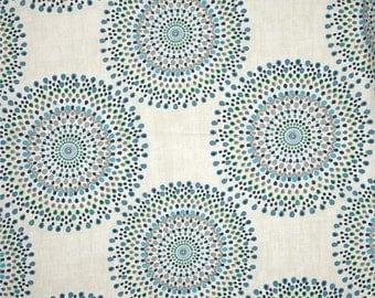 Pair of designer curtain panels drapes, Magnolia carousel ocean blue, cotton