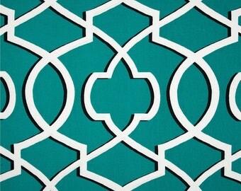A pair ( two 50W x 90L panels) rod pocket drapes, curtains, drapes, morrow geometric jade blue and white