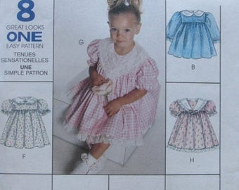 SALE- McCalls 8571/Uncut Sewing Pattern/Childrens/Girls Size 1-2-3 Dress/8 Great Looks/1996