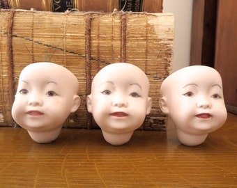 3 Vintage doll heads Oriental doll heads Porcelain doll heads Bisque doll heads Doll parst Reproduction doll head 1980's Cheap Inexpensive