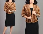 RESERVED FOR HALLIE vintage mink fur wrap honey brown blonde stole cape shawl hollywood wedding 1950s 1960s 50s 60s