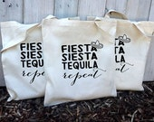 Eco-Friendly Fiesta Siesta Tequila Repeat Bachelorette Party Reusable Canvas Tote Bag