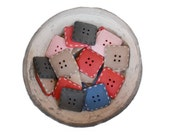 SALE - n.36 Vintage resin square buttons 4 holes 6 colors, 1960