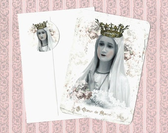 Note Cards, Religious Image, Madonna, Crown, Flat Note Card Set, Mary, Stickers