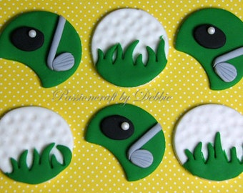 12 Fondant edible cupcake toppers - Golf ball and golf court