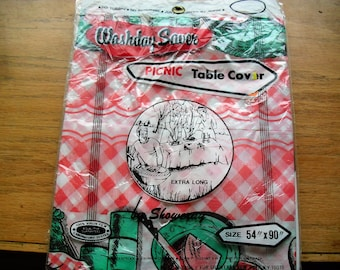 Vintage Plastic Picnic Table Covers Set of Two Plastic Picnic Table Covers