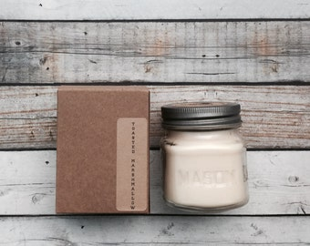 Toasted Marshmallow 8 oz Mason Jar Soy Candle Rustic Hand poured