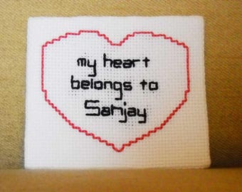 """Custom Cross Stitched Magnet """"My Heart Belongs to """"(Your Name Choice)"""""""
