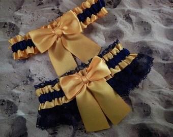 Light Gold Navy Blue Satin Navy Lace Wedding Bridal Garter Toss Set
