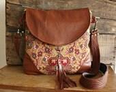 Crossbody tapestryag handbag messenger satchel leather trim--- Ready to Ship--