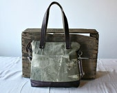 Olive Canvas Tote messenger Unisex crossover handbag Upcycled Vintage Army bag Leather trim 5 Pockets - Ready to Ship-