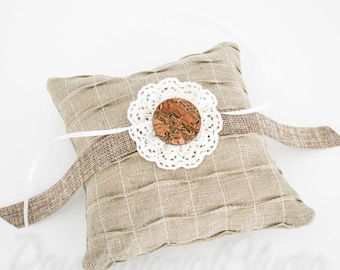 Rustic Linen & Lace Ring Bearer Pillow with Wood / Cork Button // Modern Barn Wedding // Country Western Outdoors Wedding
