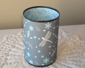Gray and Blue Dragonfly and Floral Desk Accessories - Pencil Holder - Pencil Cup - Office Organization - Office Decor - 949