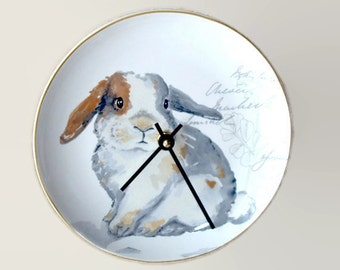 Cute Bunny Wall Clock, 8 Inch SILENT Porcelain Plate Clock, Unique Wall Decor, Kitchen Clock, Nursery Clock  2299