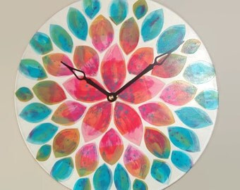 RESERVED - Original Art  Floral Wall Clock 12-Inch SILENT, Rainbow Dahlia Clock, Hand Painted Clock, Unique Wall Clock - 2213