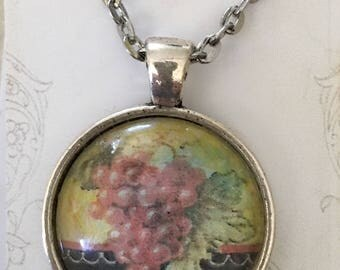 vintage art wine label Pendant hand colored wine country art necklace