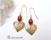Tiny Gold Heart Earrings, Pearl Earrings, Dainty Small Earrings, Valentine's Day Jewelry, Romantic Valentine Gift - Love, Brass Earrings