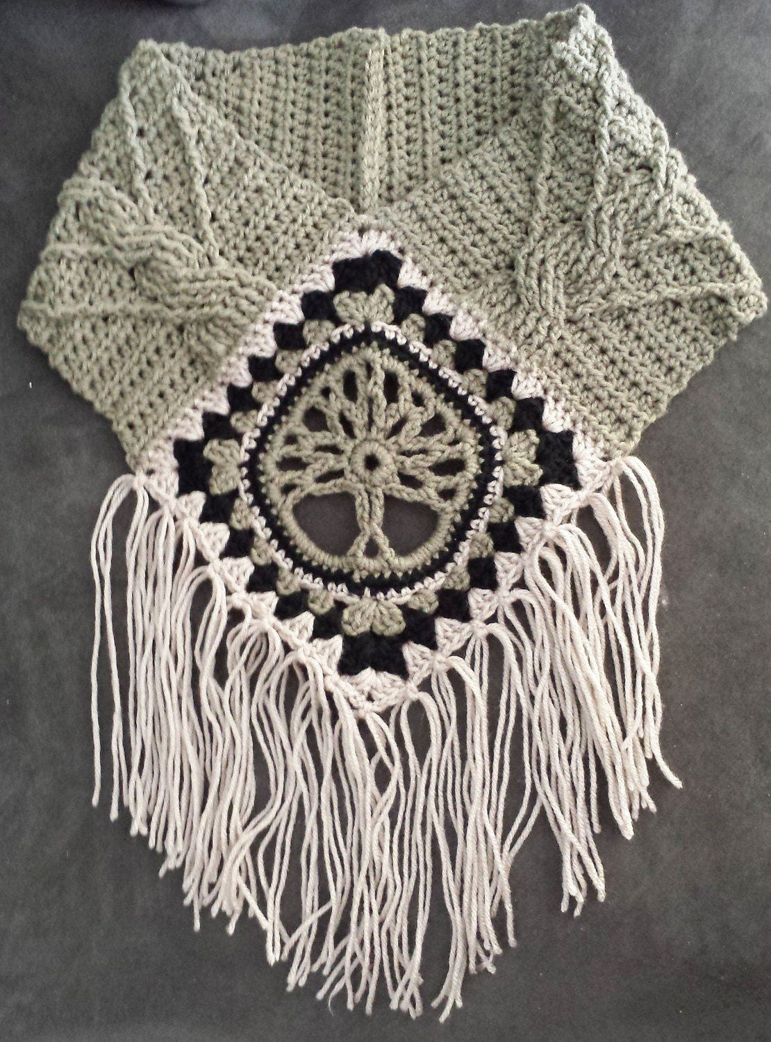 Tree of life fringed cowl crochet pattern cable stitch post granny this is a digital file bankloansurffo Images