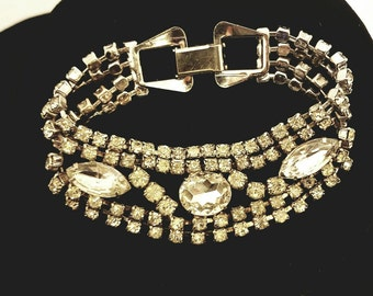 Vintage Rhinestone ladies bracelet-Holiday wedding or New Years party, perfect gift.
