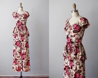 30s Dress - Vintage 1930s Dress - Rare Rayon Jersey Rose Print Shocking Pink Burgundy Peplum Full Length Gown XS - Beyond Paradise Dress