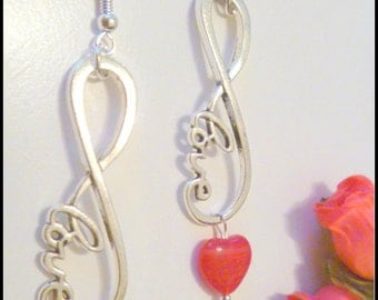 Infinity Love Heart Beaded Sterling Silver Ear Wires Earrings