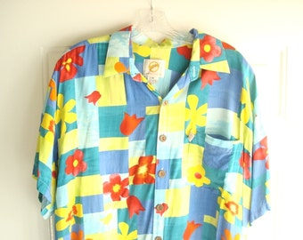 Kahala Suns mens Hawaiian shirt, size Medium, blue aqua yellow red geometric flower print, aloha shirt, Magnum PI summer style