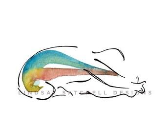 Head to Knee Fold   Yoga Art Print, Pilates Gift, Yoga Studio Decor, Inspiration Art, Gifts, Yoga Inspiration