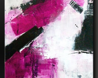Abstract in Pink - 30x24 - Abstract Acrylic Painting on canvas - Modern Contemporary Wall Art