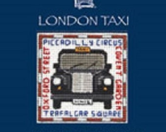 London Taxi Cab Counted Cross Stitch Card Kit from Textile Heritage, Cross Stitch Needlework Kit , cross stitch, card kit