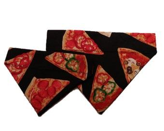 Pizza Dog Bandana - Red Black Gingham Cat Bandana - Reversible Slide on Bandana - Pet Accessory