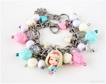 Ao No Exorcist Shiemi Charm Bracelet, Silver Chain, Teal, Pink, Kawaii Jewelry, Anime
