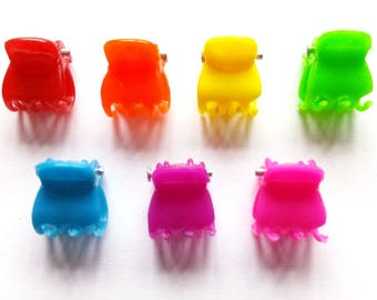20 pcs - Mix rainbow colors Mini hair Claw Clips for hair crafts - size 12 mm