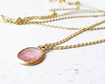 14k Gold Necklace / 14k Gold Ruby Necklace / Sapphire  Charm / Gold Ruby Pendant / Minimalist Gold Jewelry / Pink Ruby Pendant