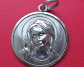 Vintage 800 Silver Virgin Mary Religious Medal Catholic Pendant   SS19