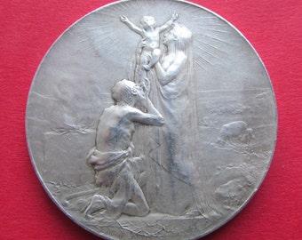 Antique Religious Medal Holy Family Saint John French Silver Religious Art Medal Signed Dupre