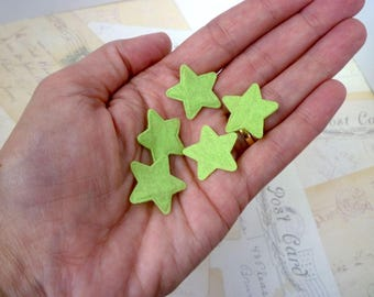 Felt Star Shapes GREEN - 1 inch, Cut outs, Die cuts, Scrapbooking - Pack of 10